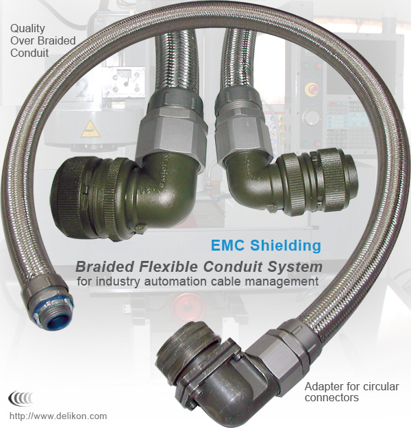Braided flexible conduit Systems for industry automation cable management