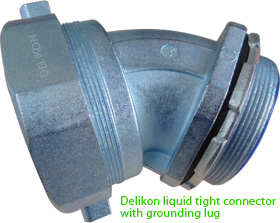 Delikon liquid tight connector with grounding lug